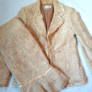 Yellow distressed hem tweed skirt suit set
